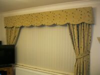 Handmade Heavy Cotton Curtain With Tie Backs and Pelmet - All Fully Lined