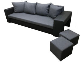 Brand NEW Sofa Bed 3 Seater with Storage Double 2 Footstools