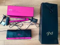 GHD v gold electric pink hair straighteners