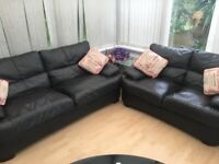 Dark chocolate leather 2&3 seater sofas