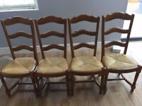 4 Vintage Solid Oak French Dining Chairs