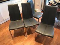Stunning Next leather dinning room chairs (x 4) -habitat