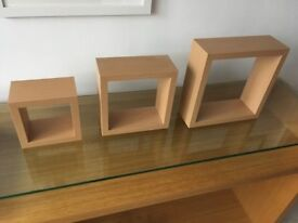 3 x Square Oak Floating Box Shelves from Next
