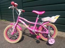 """Girls 14"""" bicycle with stabilisers"""