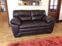 3 Month Old Brown Leather 2 Seater Sofa Cost Over £600