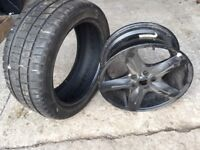 Winter tyres and black alloy wheels