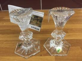"Pair of brand new Waterford Crystal 5"" Chatham candlesticks"