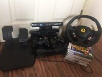 xbox 360 kinect camera,9 games, pedals and steering wheel ans 2 controllers