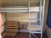 High sleeper/bunk with desk and chair/bed