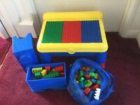 TODDLERS ADJUSTABLE DUPLO / LEGO / MEGABLOKS TABLE WITH INSIDE STORAGE AND LOADS OF DUPLO