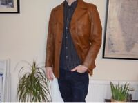VINTAGE Men's Brown Leather Jacket - Retro style -Quality Leather Size L / Large