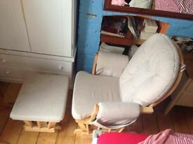 Rocking/nursing chair with footstool