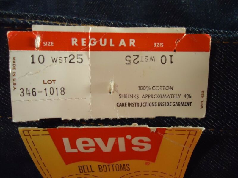 NOS Vtg Levis Student 10 Regular Waist 25 Bell Bottom Blue Jeans USA 346-1018