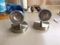 2 brushed stainless steel wall lights