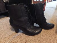 Ladies Hush Puppies Black leather boots