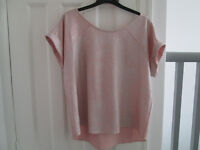 RIVER ISLAND TOP - PINK SHIMMERY - SIZE 14 - EXC. COND.