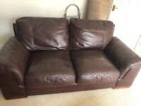 Pair of brown leather sofas, good condition from pet & smoke free home. 1 x 3 seater & 1 x 2 seater