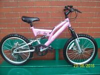 GIRLS 20 INCH DUNLOP DOUBLE DISK AND DOUBLE SUSPENSION BIKE