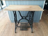 SINGER SEWING MACHINE TABLE WITH OAK TOP