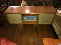 Stereogram, vintage record player, side table, cabinet