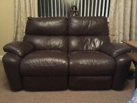 Brown leather electric reclining sofa's