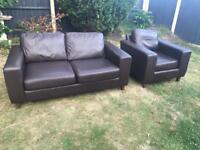Brown leather sofa bed bed settee with armchair matching can deliver