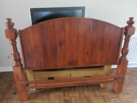 Head Board hand made dark stained wood for King Sized Bed