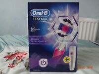 Orab B Pro 680 3D white. white pink electric toothbrush with travel case new