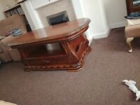 Oak coffee table with drawer