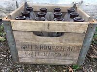 Vintage Gates Homestead Milk Bottles Crate Rustic American Farm Advertising