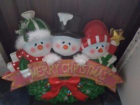 "light up snowman ""Merry Christmas"" decoration"