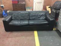 Black Leather Habitat Sofa Bed