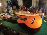 Vintage Spanish Electro Acoustic Nylon String Guitar