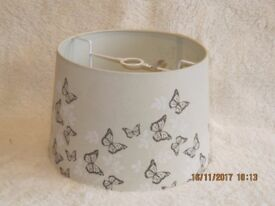 Cream lampshade with butterfly pattern