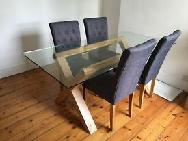 Glass Oak Dining Table + Chairs bought from Cargo (Under 2 years ago for £700)