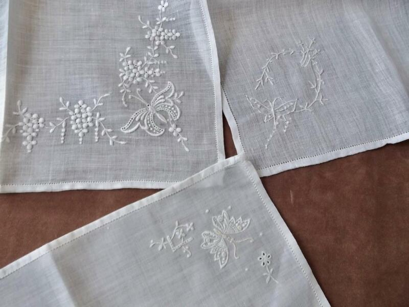 3 Antique 1920s Linen Hemstitched Handkerchiefs Hand Embroidered Butterflies