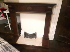Mahogany fireplace surround with mantle