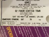 Gomez 1x standard ticket Kentish Town Forum Saturday 5th May 2018 - Bring it on anniversary tour -
