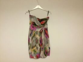 Silk multi colour dress size 10