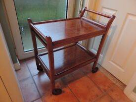 vintage Staples wooden tea/drinks/cake trolley with removable trays