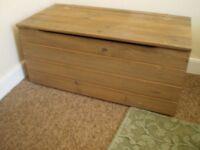 Pine wooden storage box.