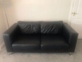 John Lewis black leather sofa and arm chair immaculate condtion modern fashion