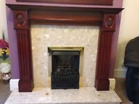 Gas fire place with marble hearth & mantle piece