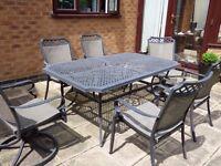 Large 6 Piece Garden Table Patio Chair set 2 swivel chairs Lightweight aluminium