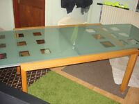 dining table glass and wood frame good condition ready to use
