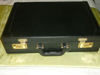 Briefcase black leather and combination lock