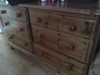 Six drawer solid pine chest of drawers