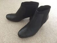 Black Leather Ankle Boots - Clarks Size 6