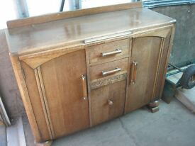 VINTAGE ORNATE OAK 'CHUNKY' SIDEBOARD. IDEAL AS IS OR AS A PAINTED PROJECT. VIEW/DELIVERY POSSIBLE