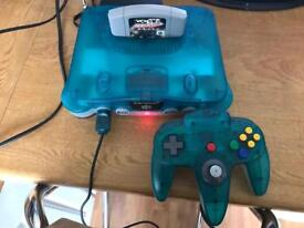 N64 Nintendo 64 ice blue & clear console ltd ed